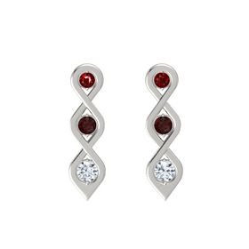 Round Red Garnet 14K White Gold Earrings with Ruby & Diamond