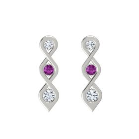 Round Rhodolite Garnet 14K White Gold Earring with Diamond