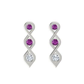 Round Rhodolite Garnet 14K White Gold Earring with Rhodolite Garnet and Diamond