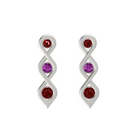 Round Rhodolite Garnet 14K White Gold Earrings with Ruby