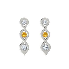 Round Citrine 14K White Gold Earring with Diamond