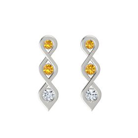 Round Citrine 14K White Gold Earring with Citrine and Diamond