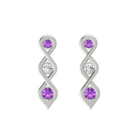 Round White Sapphire 14K White Gold Earring with Amethyst