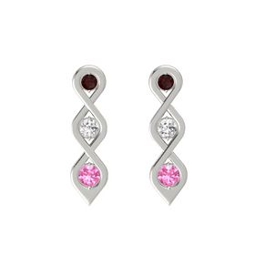 Round White Sapphire 14K White Gold Earrings with Red Garnet & Pink Tourmaline