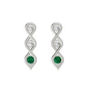 Round White Sapphire 14K White Gold Earring with White Sapphire and Emerald
