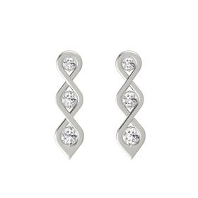 Round White Sapphire 14K White Gold Earring with White Sapphire