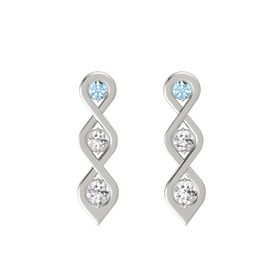 Round White Sapphire 14K White Gold Earring with Aquamarine and White Sapphire