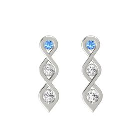 Round White Sapphire 14K White Gold Earring with Blue Topaz and White Sapphire