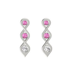Round Pink Sapphire 14K White Gold Earrings with Pink Sapphire & White Sapphire