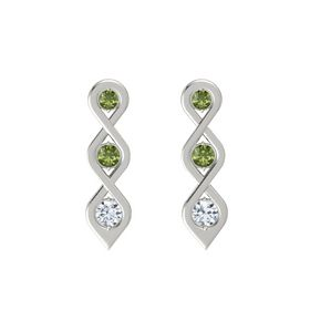 Round Green Tourmaline 14K White Gold Earring with Green Tourmaline and Diamond