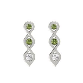 Round Green Tourmaline 14K White Gold Earrings with Green Tourmaline & White Sapphire