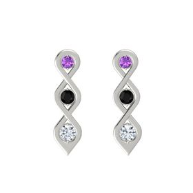 Round Black Onyx 14K White Gold Earring with Amethyst and Diamond