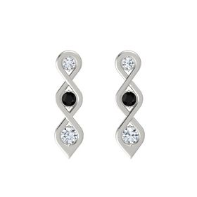 Round Black Onyx 14K White Gold Earrings with Diamond