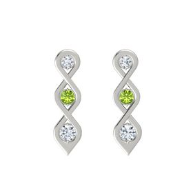 Round Peridot 14K White Gold Earrings with Diamond