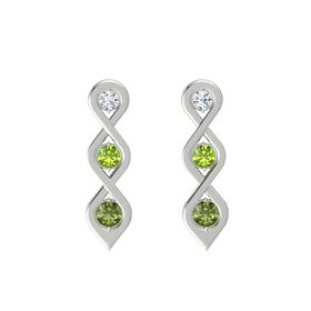 Round Peridot 14K White Gold Earring with Diamond and Green Tourmaline