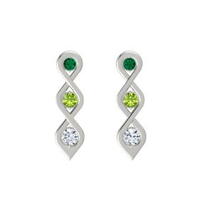 Round Peridot 14K White Gold Earring with Emerald and Diamond