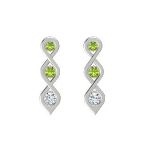 Round Peridot 14K White Gold Earring with Peridot and Diamond