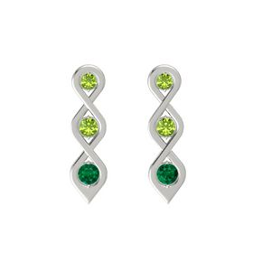 Round Peridot 14K White Gold Earring with Peridot and Emerald