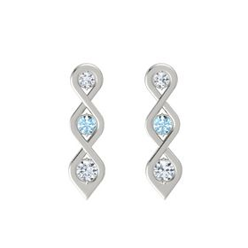 Round Aquamarine 14K White Gold Earring with Diamond