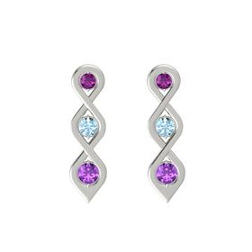 Round Aquamarine 14K White Gold Earring with Rhodolite Garnet and Amethyst