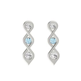 Round Aquamarine 14K White Gold Earring with White Sapphire