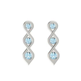 Round Aquamarine 14K White Gold Earring with Aquamarine
