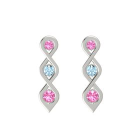 Round Aquamarine 14K White Gold Earrings with Pink Tourmaline