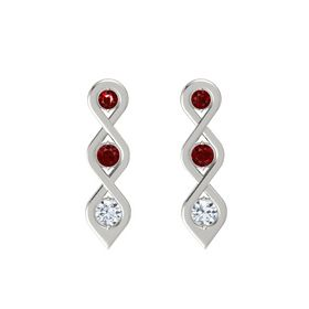Round Ruby 14K White Gold Earring with Ruby and Diamond