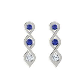 Round Blue Sapphire 14K White Gold Earring with Blue Sapphire and Diamond