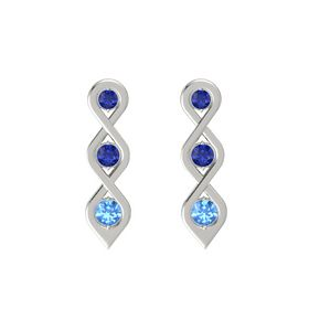 Round Sapphire 14K White Gold Earrings with Sapphire & Blue Topaz
