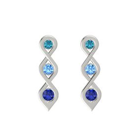 Round Blue Topaz 14K White Gold Earring with London Blue Topaz and Blue Sapphire