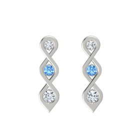 Round Blue Topaz 14K White Gold Earring with Diamond