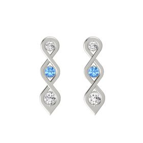 Round Blue Topaz 14K White Gold Earring with White Sapphire