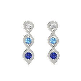 Round Blue Topaz 14K White Gold Earring with White Sapphire and Blue Sapphire
