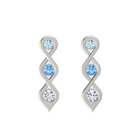 Round Blue Topaz 14K White Gold Earring with Aquamarine and Diamond