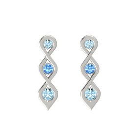 Round Blue Topaz 14K White Gold Earring with Aquamarine