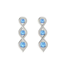 Round Blue Topaz 14K White Gold Earring with Blue Topaz