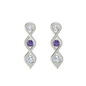 Round Iolite 14K White Gold Earrings with Diamond