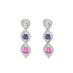 Round Iolite 14K White Gold Earrings with White Sapphire & Pink Sapphire