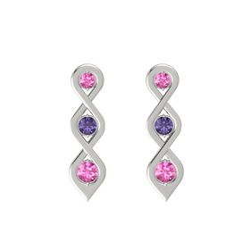 Round Iolite 14K White Gold Earrings with Pink Sapphire