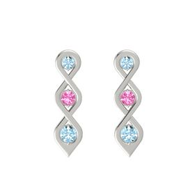 Round Pink Tourmaline 14K White Gold Earrings with Aquamarine