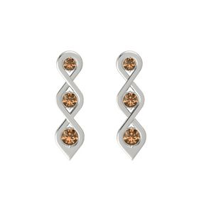 Round Smoky Quartz 14K White Gold Earring with Smoky Quartz