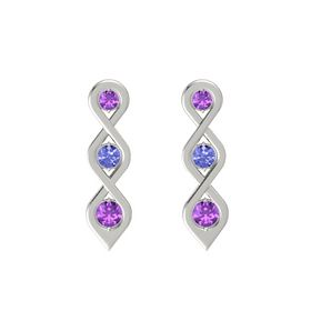 Round Tanzanite 14K White Gold Earrings with Amethyst