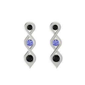 Round Tanzanite 14K White Gold Earring with Black Onyx