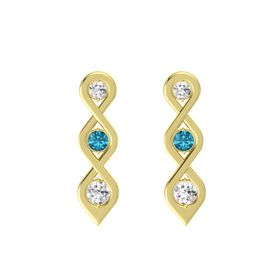 Round London Blue Topaz 14K Yellow Gold Earring with White Sapphire