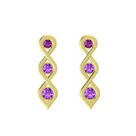 Round Amethyst 14K Yellow Gold Earring with Rhodolite Garnet and Amethyst