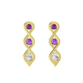 Round Amethyst 14K Yellow Gold Earring with Rhodolite Garnet and White Sapphire