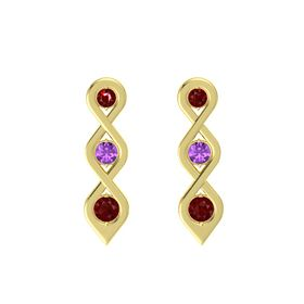 Round Amethyst 14K Yellow Gold Earrings with Ruby