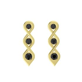 Round Black Diamond 14K Yellow Gold Earring with Black Diamond