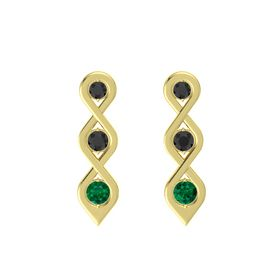 Round Black Diamond 14K Yellow Gold Earring with Black Diamond and Emerald